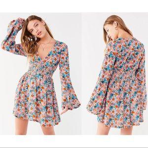 UO Elise Smocked-Waist Floral Mini Dress